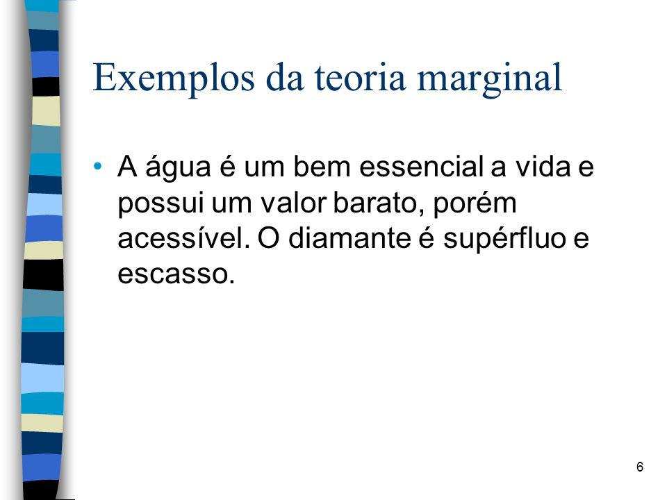 Exemplos da teoria marginal A água é um bem essencial a vida e possui um valor barato, porém acessível. O diamante é supérfluo e escasso. 6
