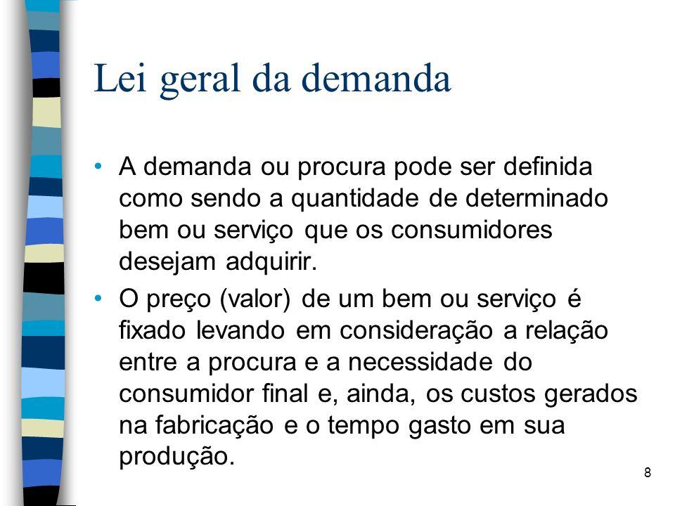 Lei geral da demanda A demanda ou procura pode ser definida como sendo a quantidade de determinado bem ou serviço que os consumidores desejam adquirir