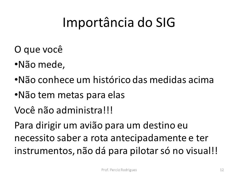 Importância do SIG O que você Não mede, Não conhece um histórico das medidas acima Não tem metas para elas Você não administra!!.
