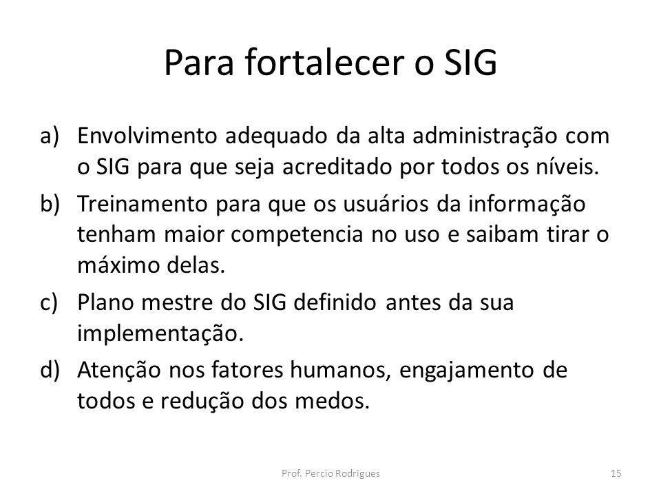 Para fortalecer o SIG a)Envolvimento adequado da alta administração com o SIG para que seja acreditado por todos os níveis.