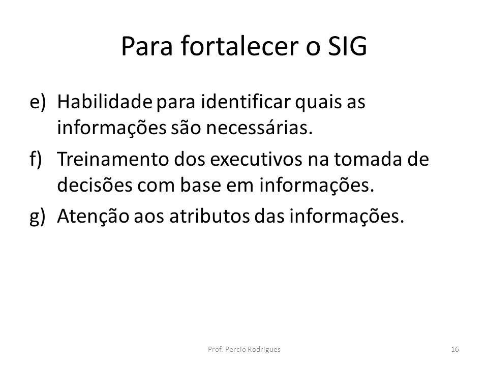 Para fortalecer o SIG e)Habilidade para identificar quais as informações são necessárias. f)Treinamento dos executivos na tomada de decisões com base