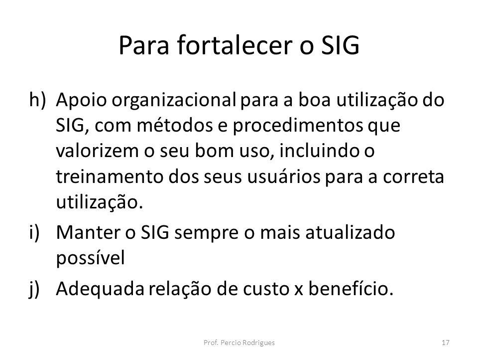 Para fortalecer o SIG h)Apoio organizacional para a boa utilização do SIG, com métodos e procedimentos que valorizem o seu bom uso, incluindo o treinamento dos seus usuários para a correta utilização.