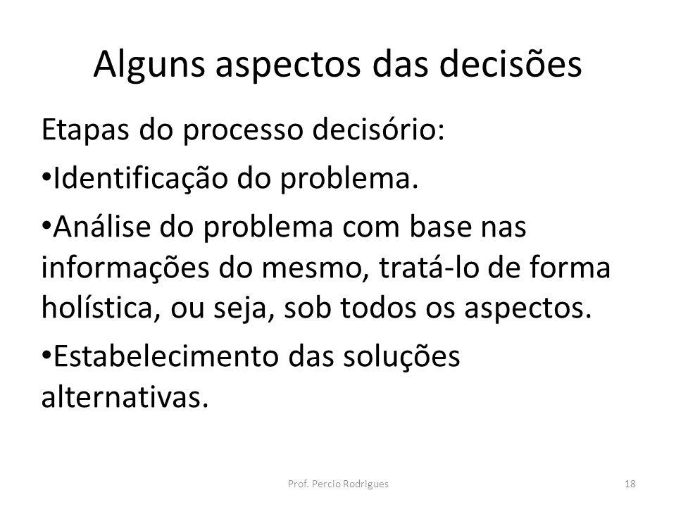 Alguns aspectos das decisões Etapas do processo decisório: Identificação do problema. Análise do problema com base nas informações do mesmo, tratá-lo