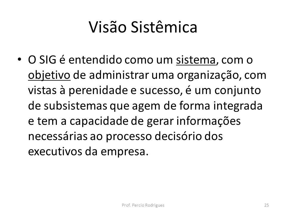 Visão Sistêmica O SIG é entendido como um sistema, com o objetivo de administrar uma organização, com vistas à perenidade e sucesso, é um conjunto de subsistemas que agem de forma integrada e tem a capacidade de gerar informações necessárias ao processo decisório dos executivos da empresa.