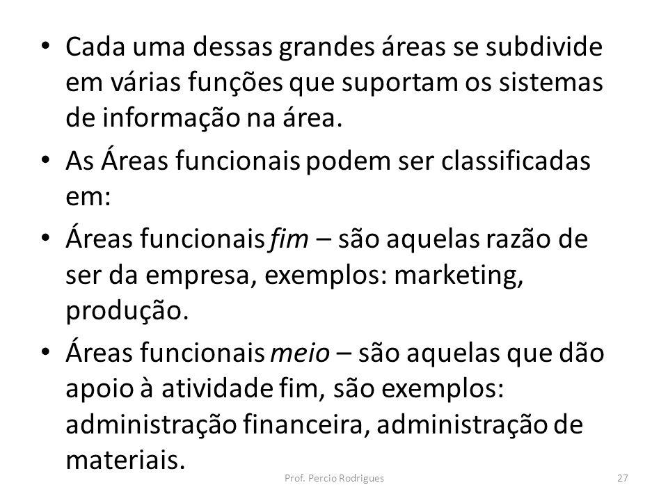 Cada uma dessas grandes áreas se subdivide em várias funções que suportam os sistemas de informação na área. As Áreas funcionais podem ser classificad