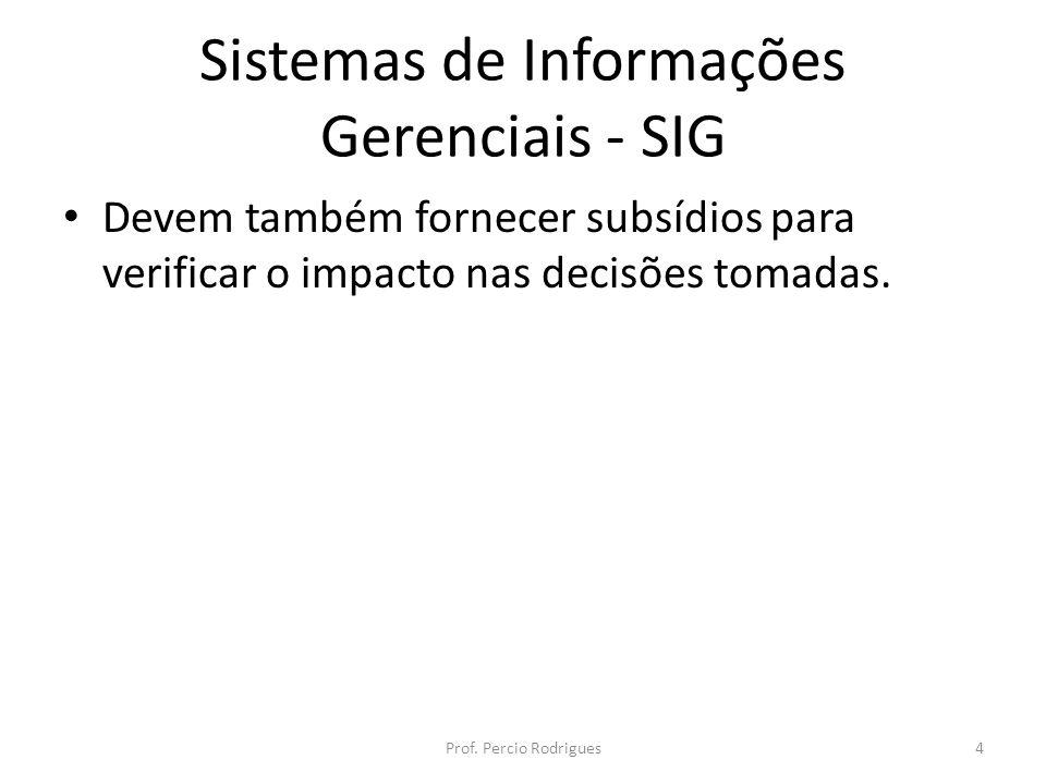 Sistemas de Informações Gerenciais - SIG Devem também fornecer subsídios para verificar o impacto nas decisões tomadas. Prof. Percio Rodrigues4