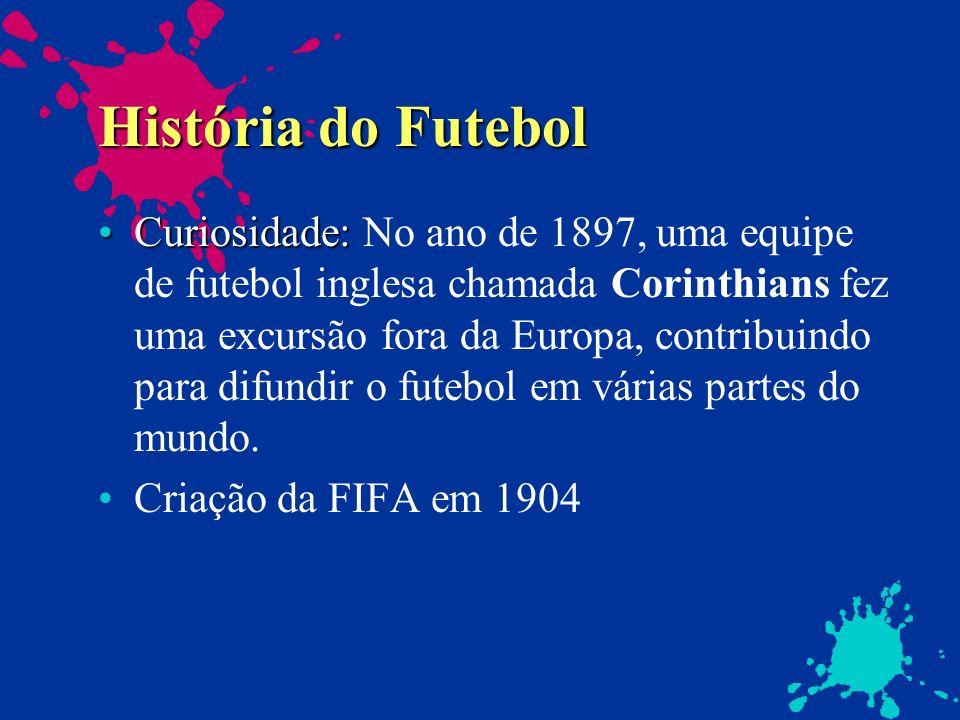 História do Futebol Curiosidade:Curiosidade: No ano de 1897, uma equipe de futebol inglesa chamada Corinthians fez uma excursão fora da Europa, contri