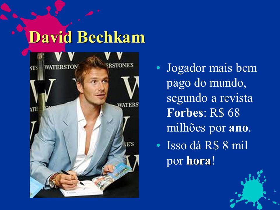 David Bechkam Jogador mais bem pago do mundo, segundo a revista Forbes: R$ 68 milhões por ano. horaIsso dá R$ 8 mil por hora!