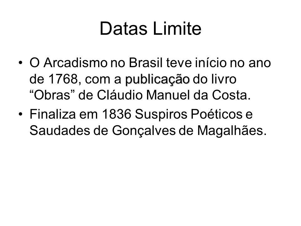 Datas Limite publicaçãoO Arcadismo no Brasil teve início no ano de 1768, com a publicação do livro Obras de Cláudio Manuel da Costa. Finaliza em 1836