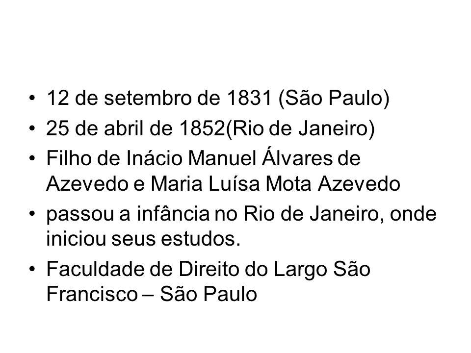12 de setembro de 1831 (São Paulo) 25 de abril de 1852(Rio de Janeiro) Filho de Inácio Manuel Álvares de Azevedo e Maria Luísa Mota Azevedo passou a infância no Rio de Janeiro, onde iniciou seus estudos.