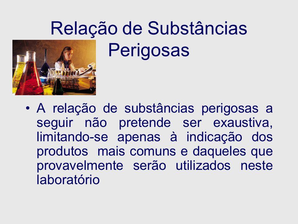 Relação de Substâncias Perigosas A relação de substâncias perigosas a seguir não pretende ser exaustiva, limitando-se apenas à indicação dos produtos