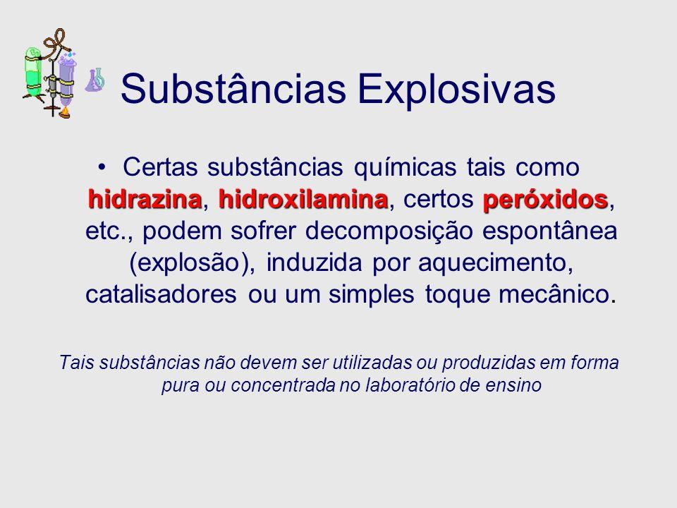 Substâncias Explosivas hidrazinahidroxilaminaperóxidosCertas substâncias químicas tais como hidrazina, hidroxilamina, certos peróxidos, etc., podem so