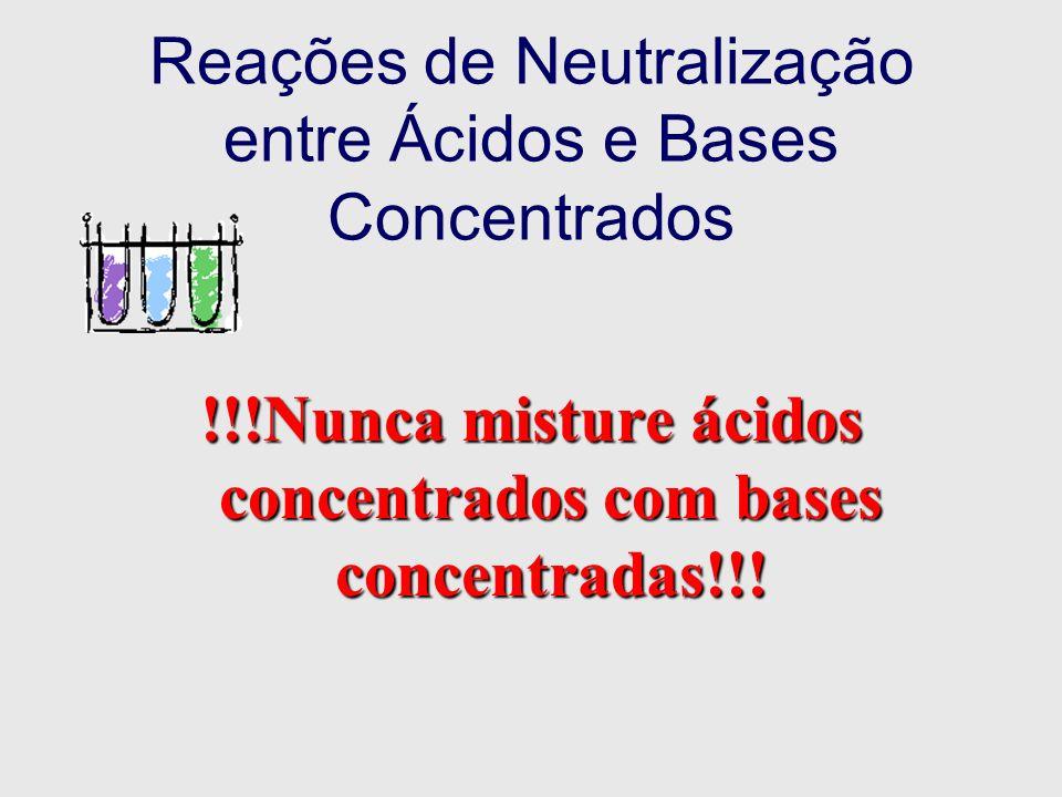 Reações de Neutralização entre Ácidos e Bases Concentrados !!!Nunca misture ácidos concentrados com bases concentradas!!!