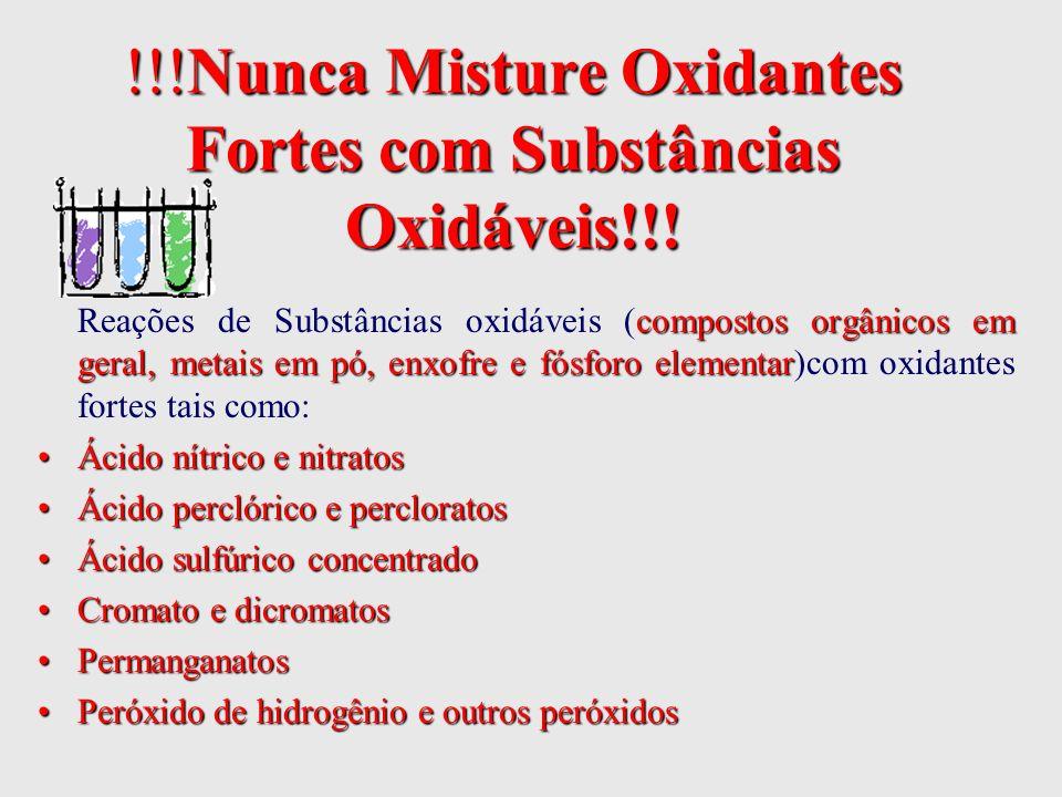 !!!Nunca Misture Oxidantes Fortes com Substâncias Oxidáveis!!! compostos orgânicos em geral, metais em pó, enxofre e fósforo elementar Reações de Subs