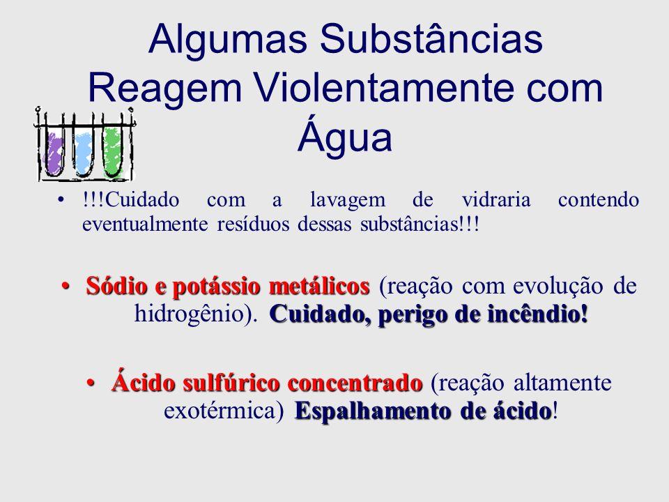 Algumas Substâncias Reagem Violentamente com Água !!!Cuidado com a lavagem de vidraria contendo eventualmente resíduos dessas substâncias!!! Sódio e p