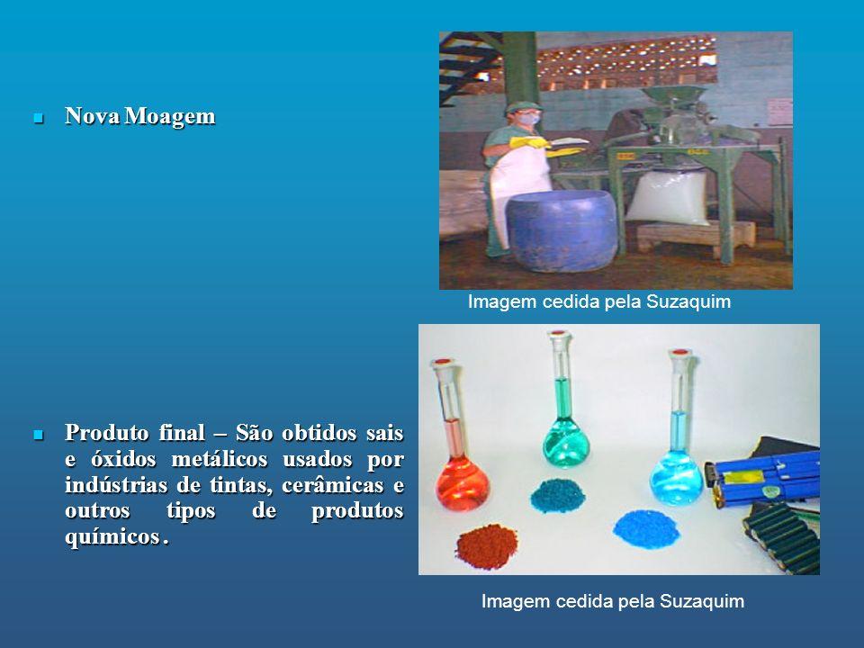 Nova Moagem Nova Moagem Produto final – São obtidos sais e óxidos metálicos usados por indústrias de tintas, cerâmicas e outros tipos de produtos quím