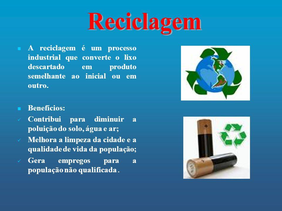 A reciclagem é um processo industrial que converte o lixo descartado em produto semelhante ao inicial ou em outro. Benefícios: Contribui para diminuir