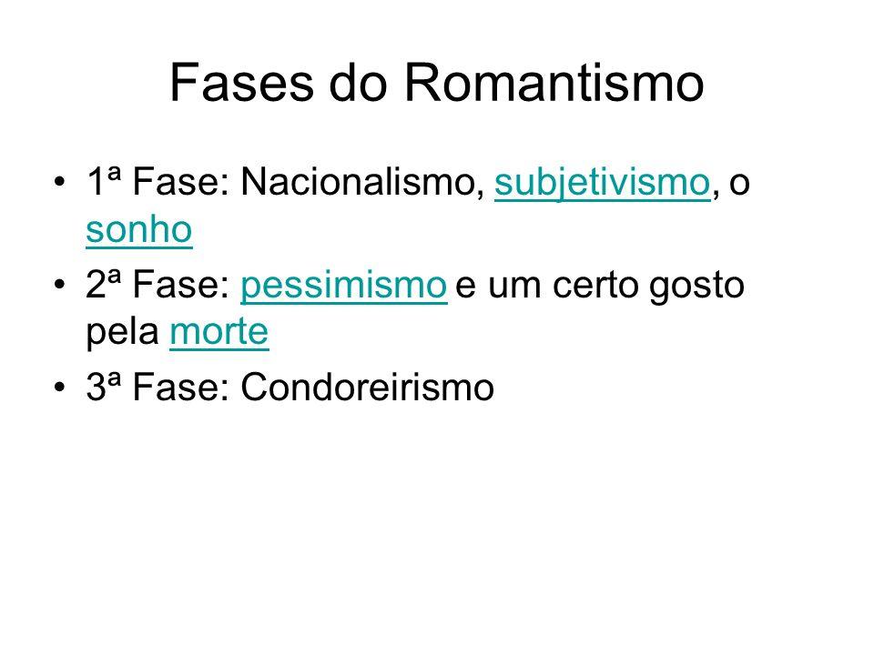 Fases do Romantismo 1ª Fase: Nacionalismo, subjetivismo, o sonhosubjetivismo sonho 2ª Fase: pessimismo e um certo gosto pela mortepessimismomorte 3ª F