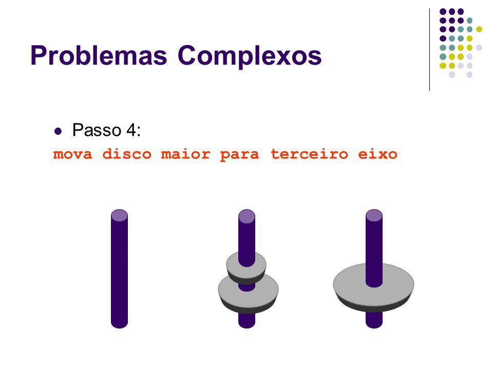 Passo 4: mova disco maior para terceiro eixo Problemas Complexos