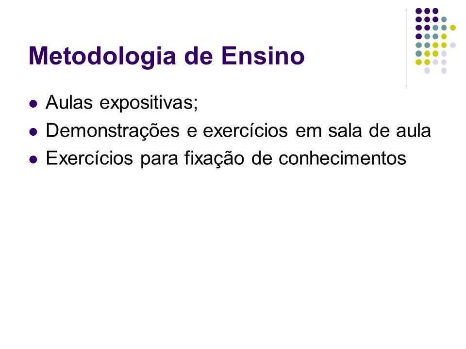 Metodologia de Ensino Aulas expositivas; Demonstrações e exercícios em sala de aula Exercícios para fixação de conhecimentos