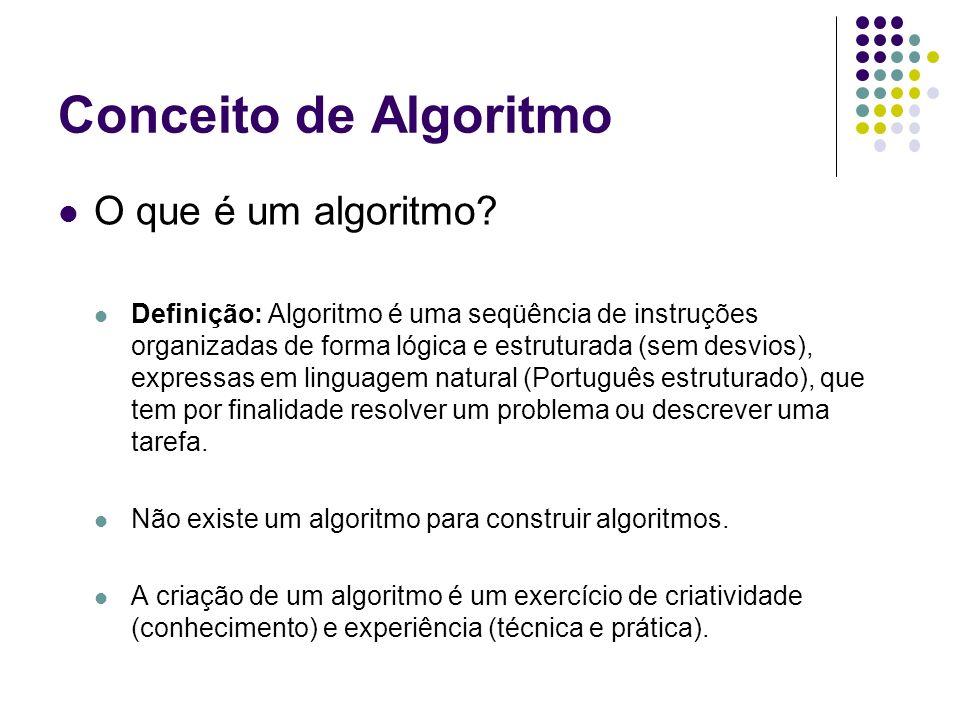 Conceito de Algoritmo O que é um algoritmo? Definição: Algoritmo é uma seqüência de instruções organizadas de forma lógica e estruturada (sem desvios)