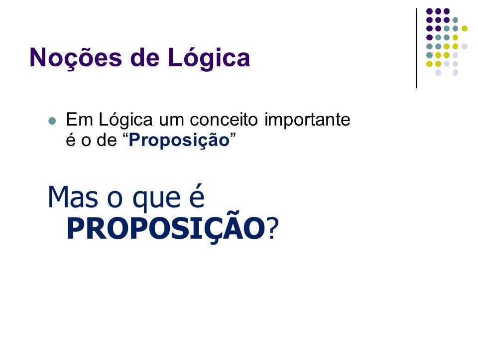 Noções de Lógica Em Lógica um conceito importante é o de Proposição Mas o que é PROPOSIÇÃO?