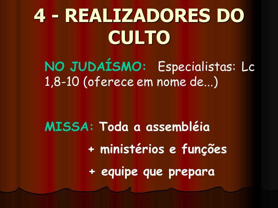 NO JUDAÍSMO: Especialistas: Lc 1,8-10 (oferece em nome de...) 4 - REALIZADORES DO CULTO MISSA: Toda a assembléia + ministérios e funções + equipe que