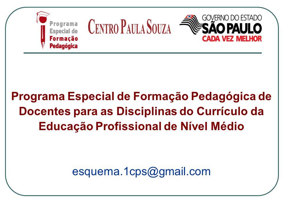 Programa Especial de Formação Pedagógica de Docentes para as Disciplinas do Currículo da Educação Profissional de Nível Médio esquema.1cps@gmail.com