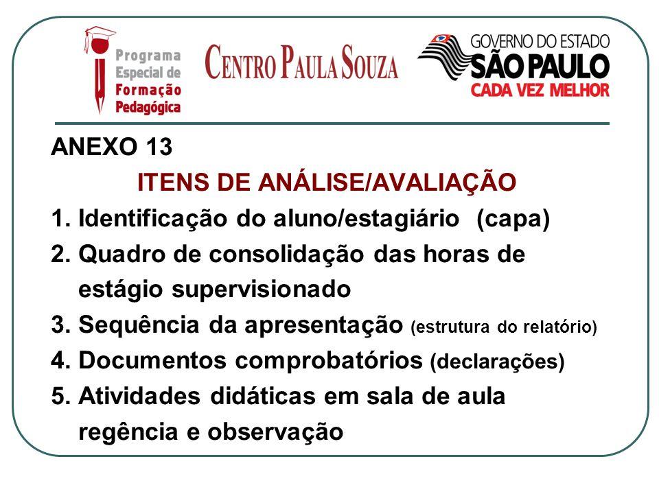 ANEXO 13 ITENS DE ANÁLISE/AVALIAÇÃO 1. Identificação do aluno/estagiário (capa) 2. Quadro de consolidação das horas de estágio supervisionado 3. Sequê