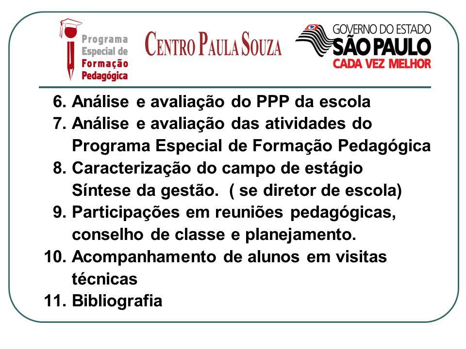 6. Análise e avaliação do PPP da escola 7. Análise e avaliação das atividades do Programa Especial de Formação Pedagógica 8. Caracterização do campo d