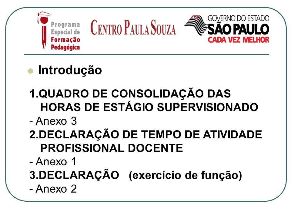 Introdução 1.QUADRO DE CONSOLIDAÇÃO DAS HORAS DE ESTÁGIO SUPERVISIONADO - Anexo 3 2.DECLARAÇÃO DE TEMPO DE ATIVIDADE PROFISSIONAL DOCENTE - Anexo 1 3.