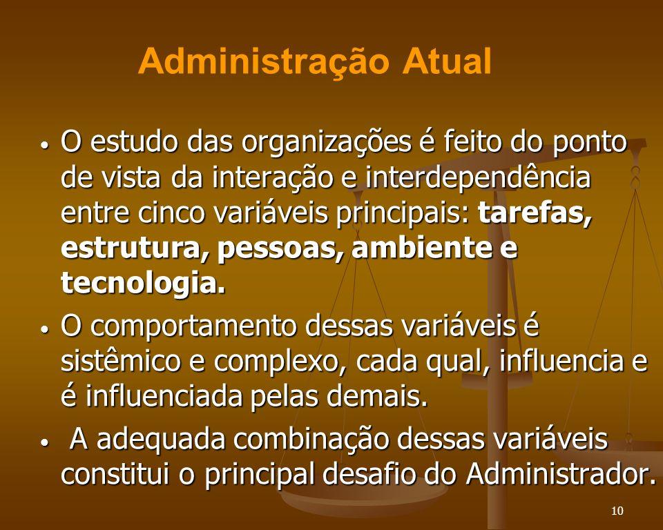 10 O estudo das organizações é feito do ponto de vista da interação e interdependência entre cinco variáveis principais: tarefas, estrutura, pessoas,