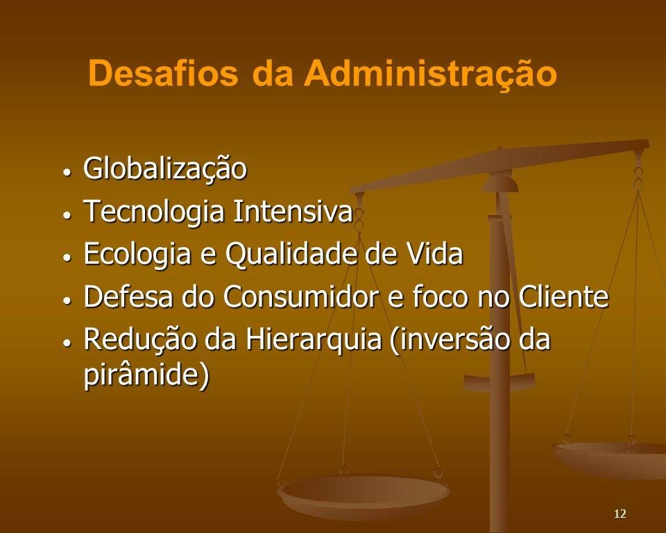 12 Globalização Globalização Tecnologia Intensiva Tecnologia Intensiva Ecologia e Qualidade de Vida Ecologia e Qualidade de Vida Defesa do Consumidor