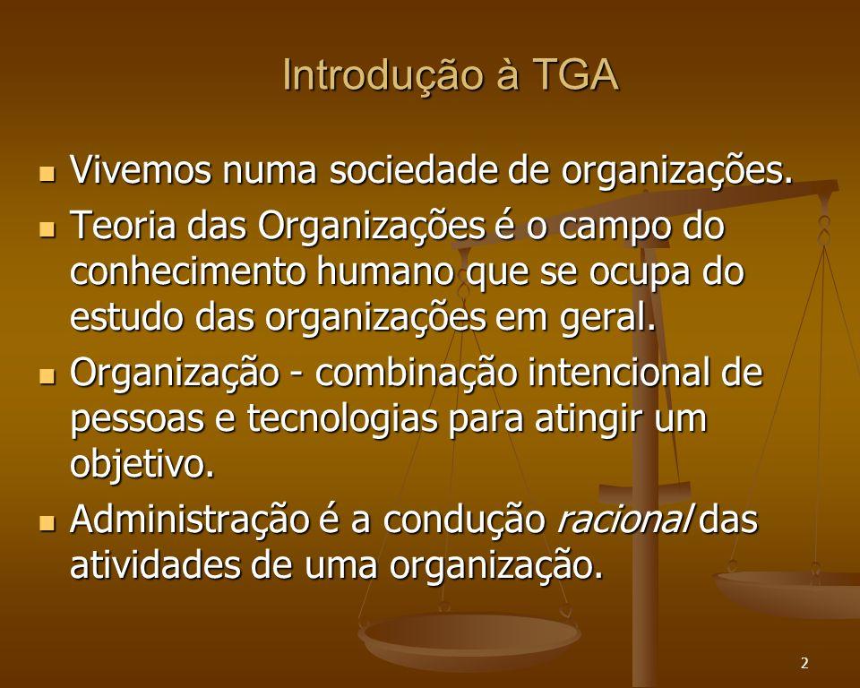 2 Introdução à TGA Introdução à TGA Vivemos numa sociedade de organizações. Vivemos numa sociedade de organizações. Teoria das Organizações é o campo