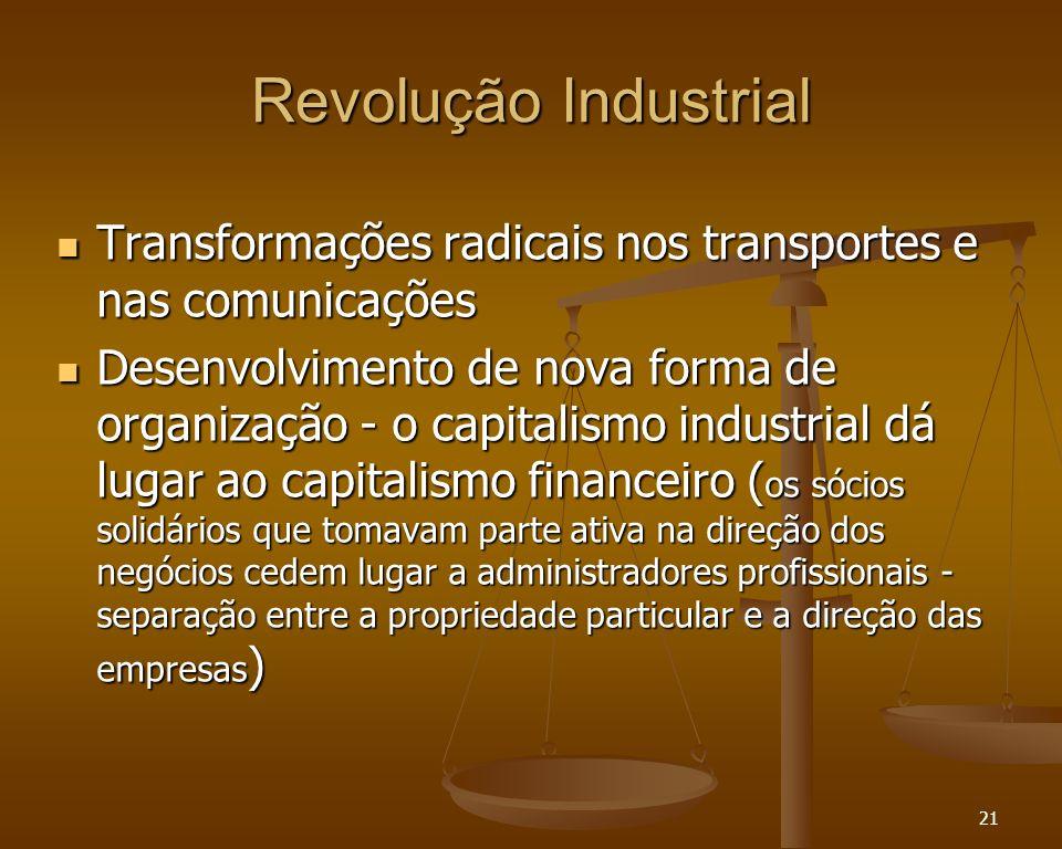 21 Revolução Industrial Transformações radicais nos transportes e nas comunicações Transformações radicais nos transportes e nas comunicações Desenvol