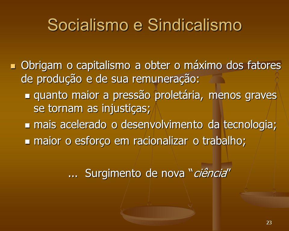 23 Socialismo e Sindicalismo Obrigam o capitalismo a obter o máximo dos fatores de produção e de sua remuneração: Obrigam o capitalismo a obter o máxi