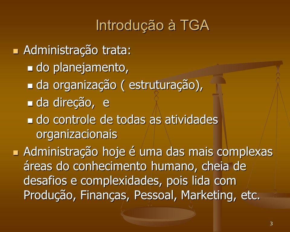 3 Introdução à TGA Administração trata: Administração trata: do planejamento, do planejamento, da organização ( estruturação), da organização ( estrut