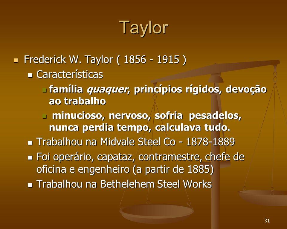 31 Taylor Frederick W. Taylor ( 1856 - 1915 ) Frederick W. Taylor ( 1856 - 1915 ) Características Características família quaquer, princípios rígidos,