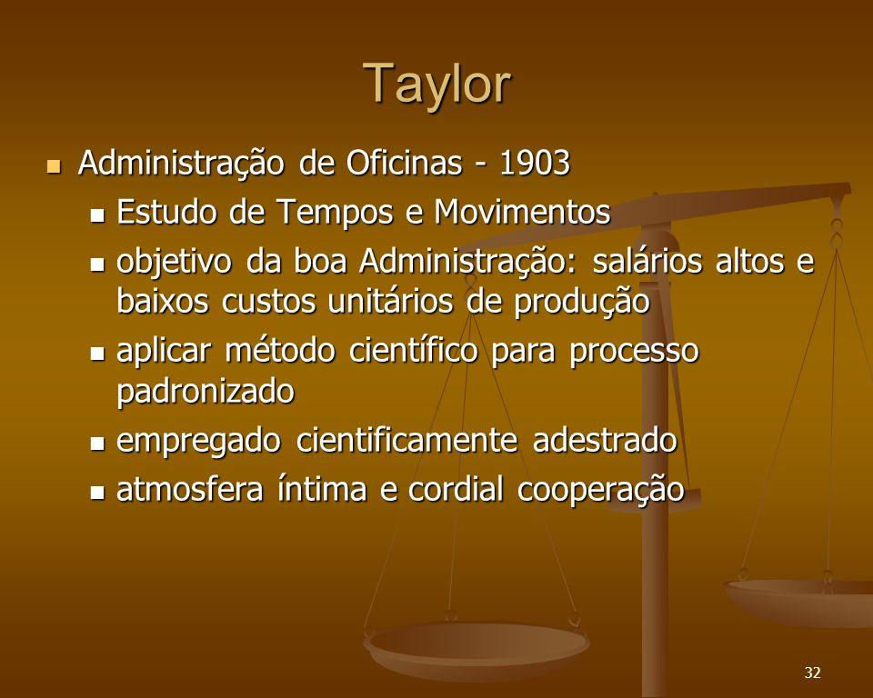 32 Taylor Administração de Oficinas - 1903 Administração de Oficinas - 1903 Estudo de Tempos e Movimentos Estudo de Tempos e Movimentos objetivo da bo