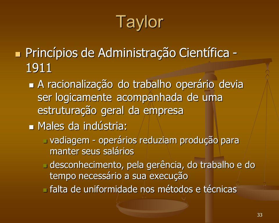 33 Taylor Princípios de Administração Científica - 1911 Princípios de Administração Científica - 1911 A racionalização do trabalho operário devia ser