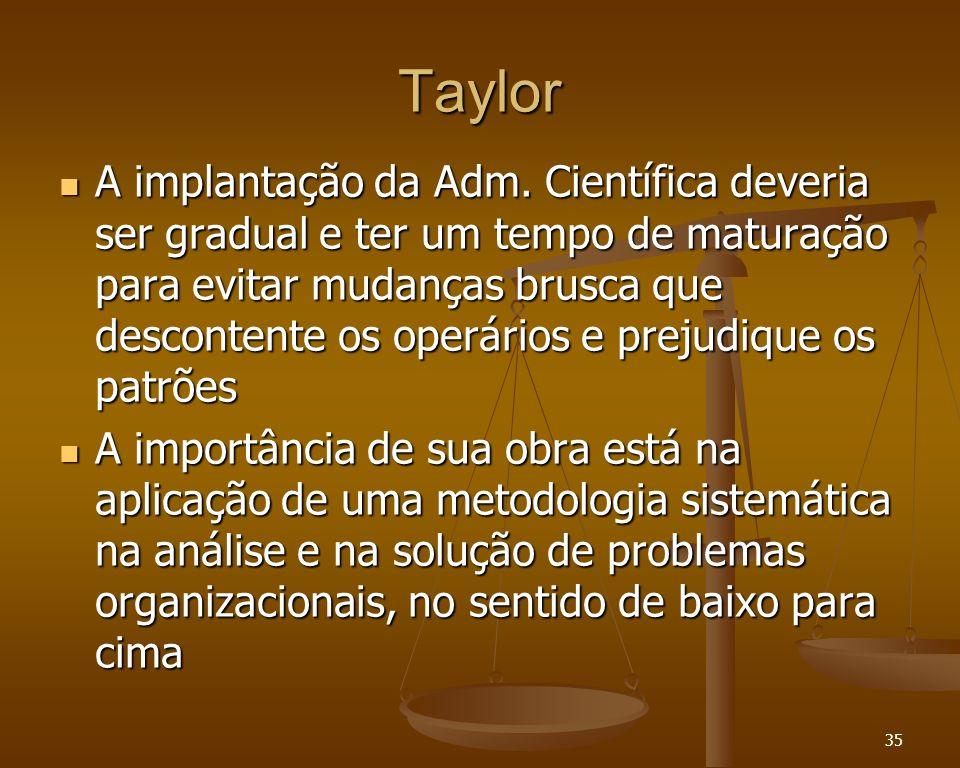 35 Taylor A implantação da Adm. Científica deveria ser gradual e ter um tempo de maturação para evitar mudanças brusca que descontente os operários e