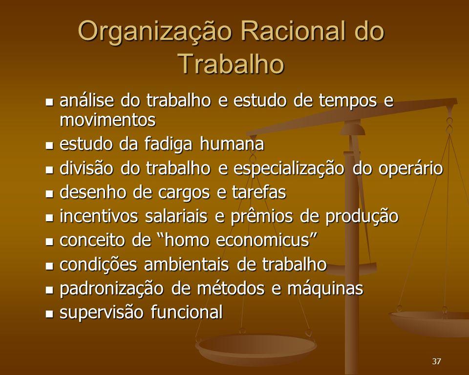 37 Organização Racional do Trabalho análise do trabalho e estudo de tempos e movimentos análise do trabalho e estudo de tempos e movimentos estudo da