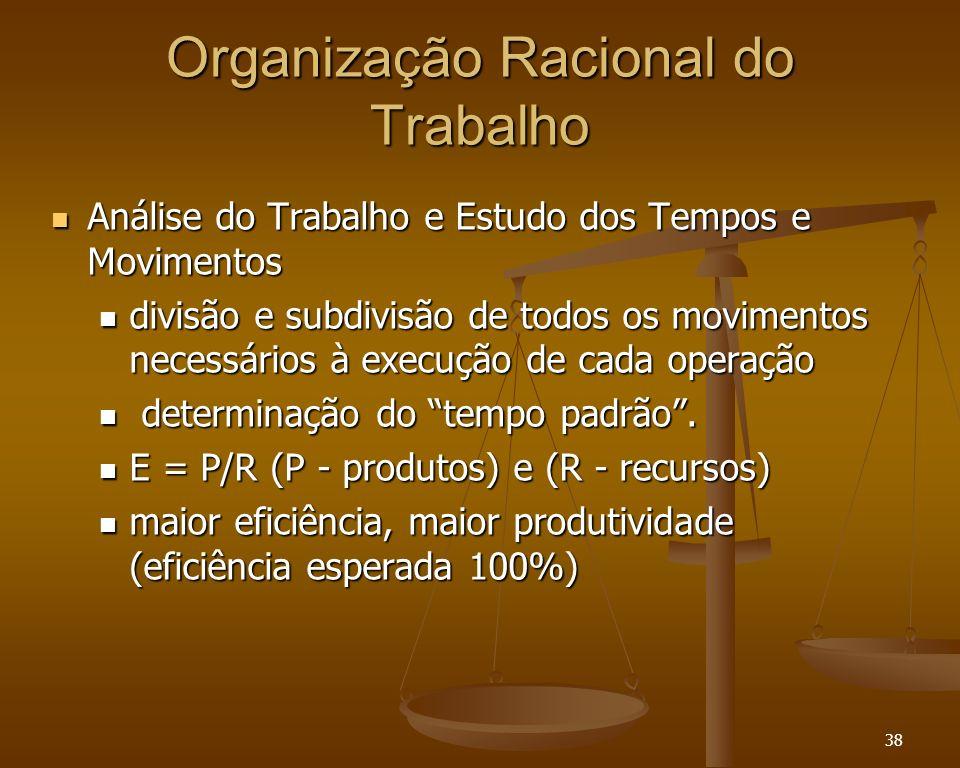 38 Organização Racional do Trabalho Análise do Trabalho e Estudo dos Tempos e Movimentos Análise do Trabalho e Estudo dos Tempos e Movimentos divisão