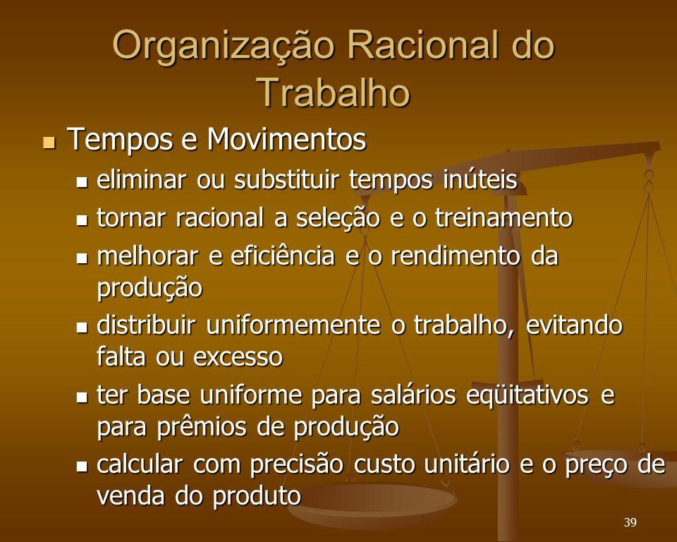 39 Organização Racional do Trabalho Tempos e Movimentos Tempos e Movimentos eliminar ou substituir tempos inúteis eliminar ou substituir tempos inútei