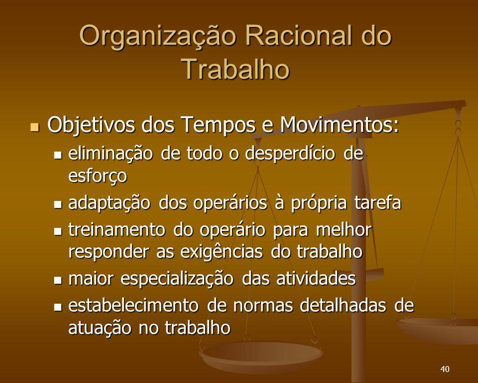 40 Organização Racional do Trabalho Objetivos dos Tempos e Movimentos: Objetivos dos Tempos e Movimentos: eliminação de todo o desperdício de esforço