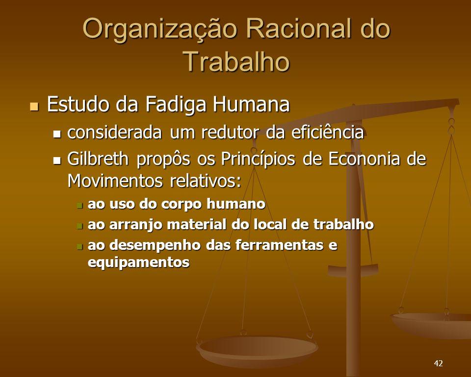 42 Organização Racional do Trabalho Estudo da Fadiga Humana Estudo da Fadiga Humana considerada um redutor da eficiência considerada um redutor da efi
