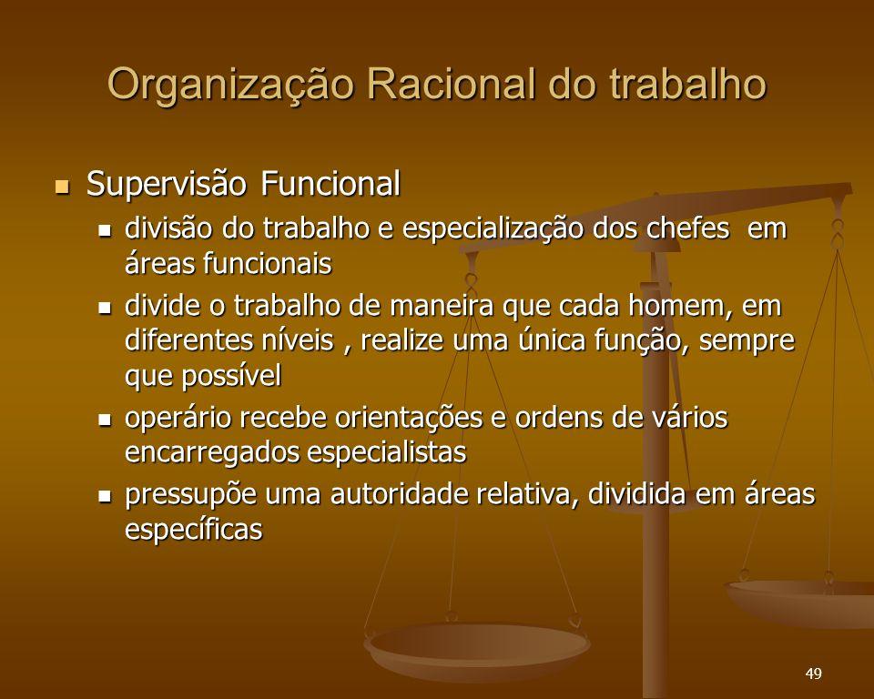 49 Organização Racional do trabalho Supervisão Funcional Supervisão Funcional divisão do trabalho e especialização dos chefes em áreas funcionais divi