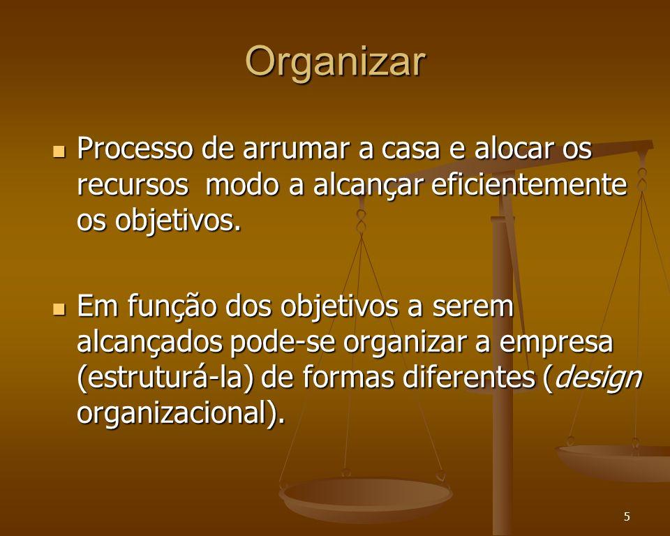 5 Organizar Processo de arrumar a casa e alocar os recursos modo a alcançar eficientemente os objetivos. Processo de arrumar a casa e alocar os recurs
