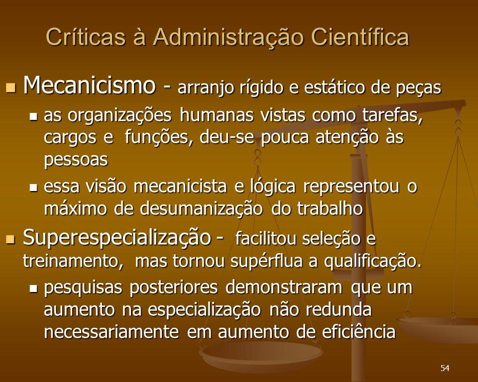 54 Críticas à Administração Científica Mecanicismo - arranjo rígido e estático de peças Mecanicismo - arranjo rígido e estático de peças as organizaçõ