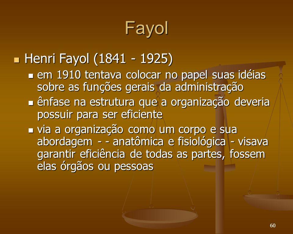 60 Fayol Henri Fayol (1841 - 1925) Henri Fayol (1841 - 1925) em 1910 tentava colocar no papel suas idéias sobre as funções gerais da administração em